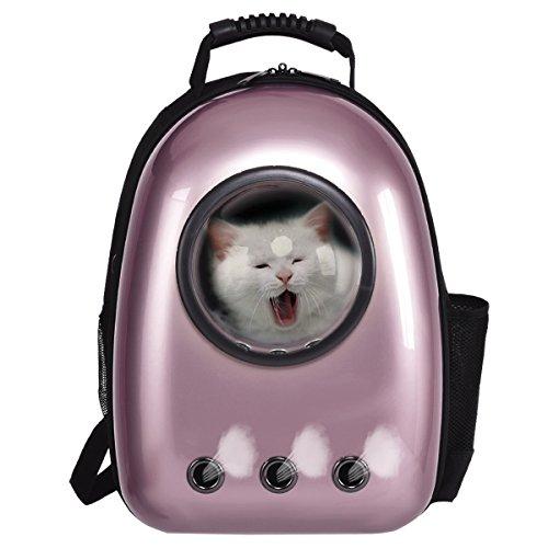 COSTWAY Haustier Rucksack Raumkapsel Hunde-Rucksack Transport-Rucksack Hunde-Tasche Tragbar (Rose...