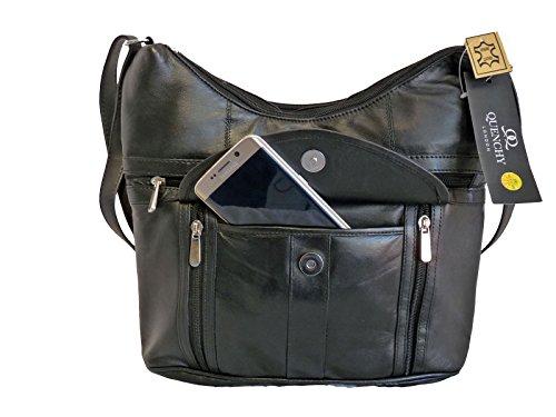 damen-weich-leder-schwarz-handtasche-einzelband-schlank-umhangetasche-7-taschen-2-grosse-reissversch