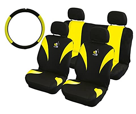XtremeAuto® YELLOW/BLACK, BEE, CAR STYLING SET. Steering wheel and Seat