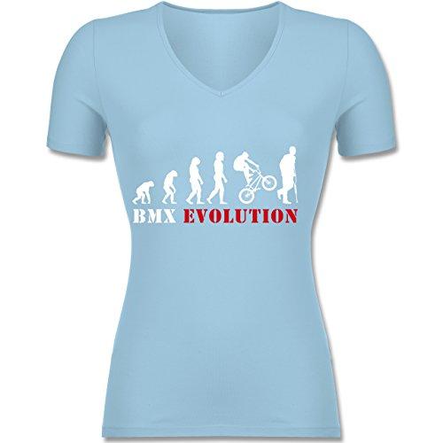 Evolution - BMX Evolution - Tailliertes T-Shirt mit V-Ausschnitt für Frauen Hellblau
