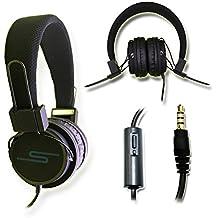 Casque audio stéréo noir Extra-Bass Clear Sound avec fonction micro + télécommande pour Lazer Smartphone Joss by PH26