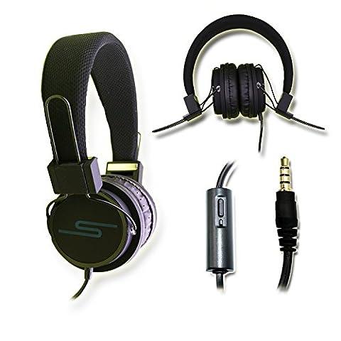 Casque audio stéréo noir Extra-Bass Clear Sound avec fonction micro