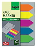 Sigel HN611 Marque-pages adhésifs en forme de flèche, film transparent et leur support-clip, 125 feuilles de 5 x 1,2 cm, 5 couleurs