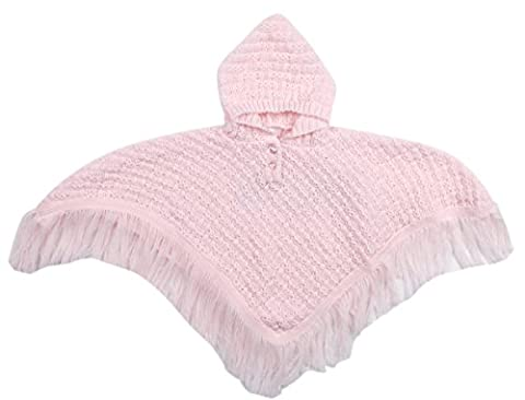 BABYTOWN Baby Knitted Hooded Poncho Fringed Newborn to 24 Months