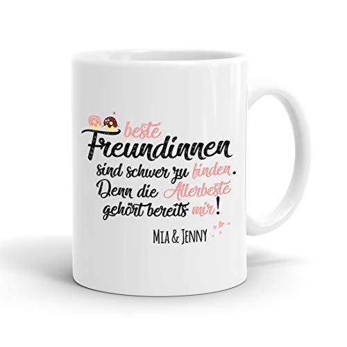 True Statements Tasse Beste Freundinnen sind schwer zu finden Wunschname - personalisierte Kaffeetasse mit Wunsch-Name - spülmaschinenfest - tolles Geschenk zu Weihnachten, innen weiss