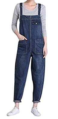 Yasong Women Loose Fit Denim Dungarees Overalls Jumpsuit Playsuit Jeans Trousers