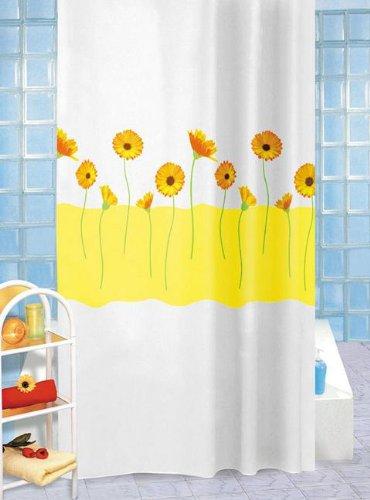 Gelb Duschvorhang-ringe (Duschvorhang Sally weiß mit gelben Blumen 180cm x 200cm + Ringe)