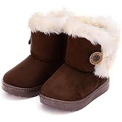 Botas de Nieve para Niños Invierno Felpa Botines Calentar Botas de Nieve Bebés Antideslizantes Zapatos Botas