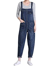 adfdd260aa4 Yasong Women Loose Fit Denim Dungarees Overalls Jumpsuit Playsuit Jeans  Trousers