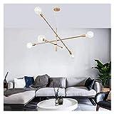 SUA ONG Cyrus Modern Brass Industrieller Kronleuchter, 6 Bulb Sputnik Esszimmerleuchten Hängende Deckenleuchte, Gold Haus