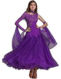 JRYYUE Abito da Ballo Moderno per Donna Vestito Cuciture in Pizzo Tango  Valzer Gonna Pratica Tulle 2c3e0643f9b