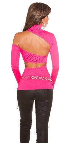 KouCla One Shoulder Rollishirt - Langarmshirt Rückenfrei in versch. Farben 34-38 (KO186101) Pink