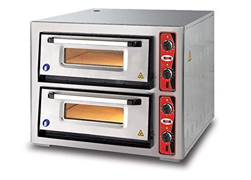 GMG Profi Pizzaofen CLASSIC PF 6292 DE für Gastronomie, 2 Backkammern/Doppelkammer dual - 6 + 6 x Ø 30 cm Pizzen - 62x92x15cm, bis zu 450°C (Ober- und Unterhitze getrennt regelbar), 12.000 Watt