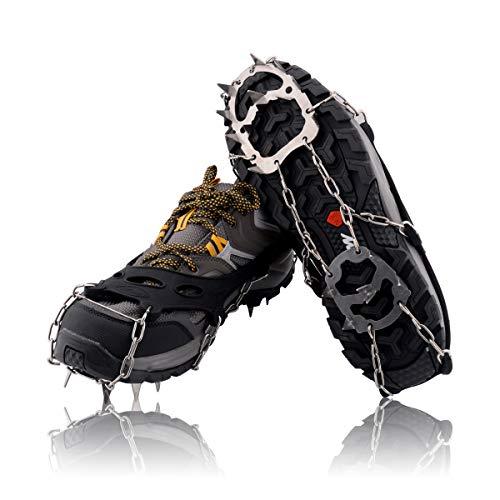 Steigeisen für Wanderschuhe, Verbesserte Version von 18 Zähnen Edelstahlspikes Langlebige Silikon-Schneegriffe Ice Traction Cleats, Tragbare Fußspikes Steigeisen für Schneewandern Camping Trekking