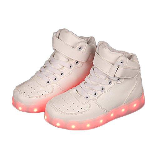 Dijun 7 Farbe LED Leuchtend Sneakers USB LED Schuh Kinder Weiß