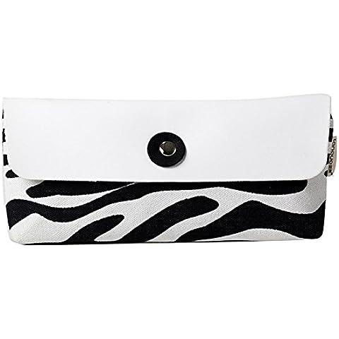TININNA zebra del leopardo tela cassa di matita matita del Sacchetto Penna Caso matita caso Trucco Sacchetto matita di immagazzinaggio Bianco - Zebra Porta Penne