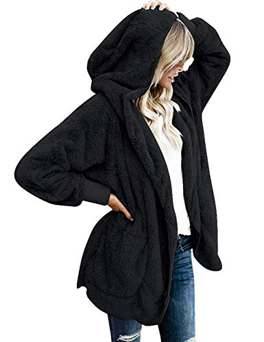 Modfine Damen Plüschjacke mit Kapuze Winter Cardigan Langarm Mantel Outwear Strickjacke Teddy-Fleece Kapuzenjacke Trench Coat(S-5XL)