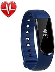 Herzfrequenzmesser Fitness-armband, LETSCOM Pulsuhren Aktivitätstracker Fitness Tracker mit Herzfrequenz-Monitor - Smart Aktivitätstracker Fitnessband Puls-Monitor-Armband Smart Schrittzähler Fitness armband für Android / iOS Smartphone, Bluetooth 4.0 IP67 wasserdichte Armband