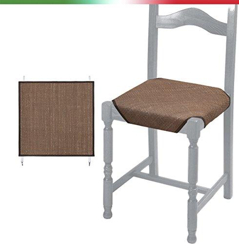 6 coprisedie tessuto naturale universali 50x50 con lacci e ganci vesti sedia vimini 100% made in italy