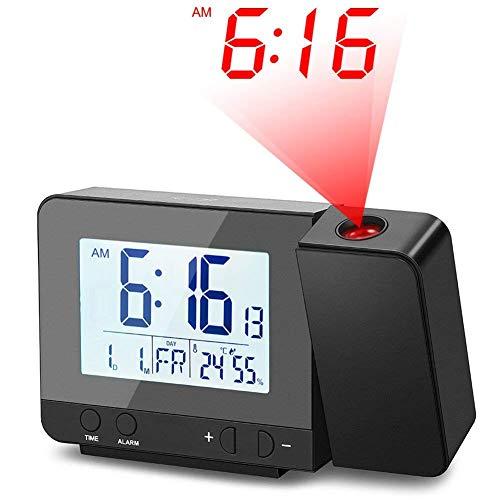 Deofde Despertador Proyector, Reloj Despertador Digital con Pantalla LCD Grande, Reloj Proyección Digital con Alarmas Dobles, Reloj Mesita de Noche, Reloj Proyector Techo, Termómetro Interior
