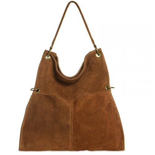 CASPAR TL757 Damen Wildleder Schultertasche, Farbe:cognac (Handtasche Vintage Wildleder)