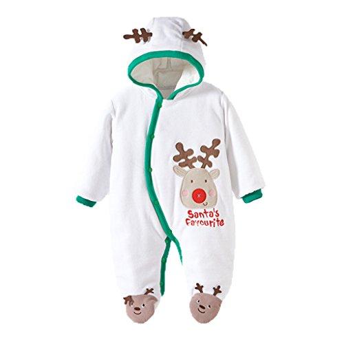 Vine Baby Weihnachten Strampelanzug Winteroverall kostüm lange Ärmel Strampler Weihnachtskostüm Unisex Kleinkinder Warm Jumpsuits weiße