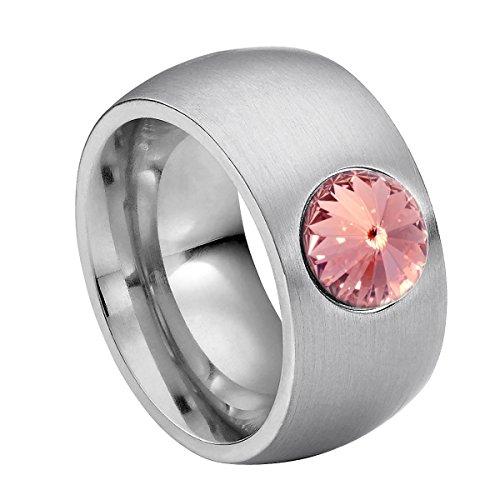 Heideman Ring Damen Coma 11 aus Edelstahl Silber farbend matt Damenring für Frauen mit Swarovski Stein Kristall Light Rose pink im Fantasie Edelsteinschliff 8mm