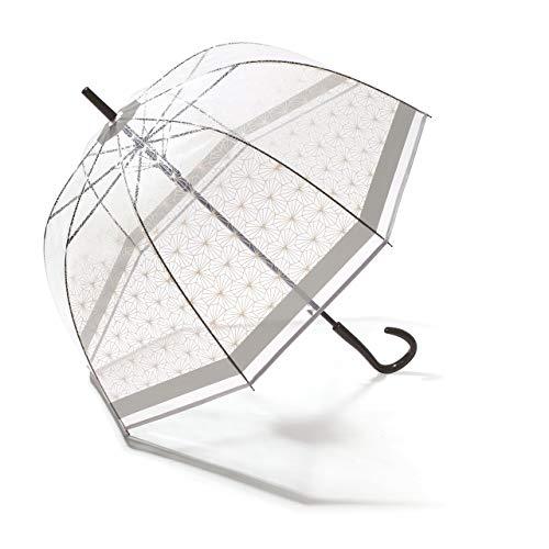 Pierre Cardin Damen Regenschirm Glockenschirm transparent/durchsichtig mit Automatik Symetrique grau