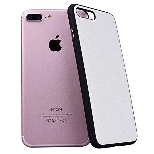 WE LOVE CASE iPhone 7 Plus 5,5 Hülle Weich Silikon iPhone 7 Plus 5,5 Schutzhülle Handyhülle Im Retro Style Einfache Farbe Furnier Schwarz Muster Handytasche Cover Case Etui Soft TPU Handy Tasche Schal Weiß