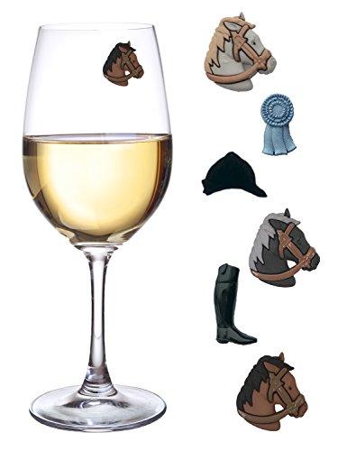 Equestrian Wein Glas Charms–Set von 6Magnetischer Drink Marker für Weingläser ohne Stiel Wein Gläser, Cocktails, MARTINIS und mehr von einfach Charmed (Pferd Wein Glas Charms)