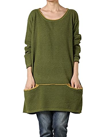 Voguees Women's Plus Size Knitting Cotton Sweater Green (One