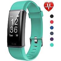 Lintelek F Fitness, Monitor de Actividad Personalizado con Monitor de Ritmo cardíaco, BICE, Verde, Pantalla de 0.96 Pulgadas