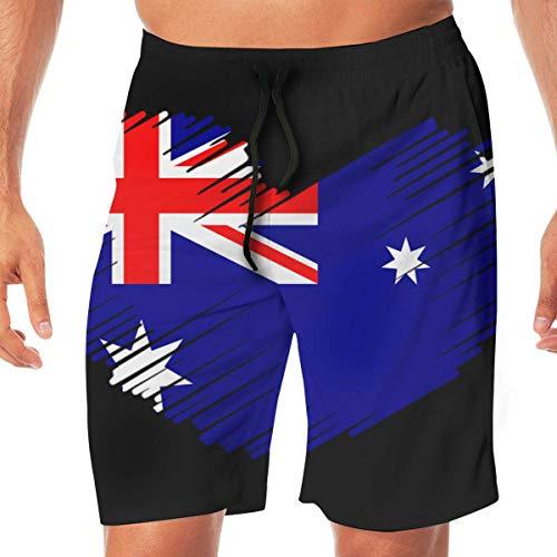 Generic Men's Bathing Suit Australian Flag in Heart Shape Lightweight Beach Boardshort with Pocket,L -