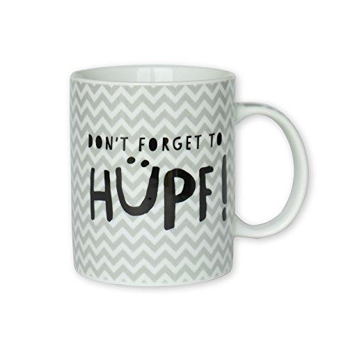 """H:)PPYlife 44914 Tasse mit Motivdruck: \""""Don\'t forget to hüpf!\"""", schwarz grau, mehrfarbig, Geschenktasse"""