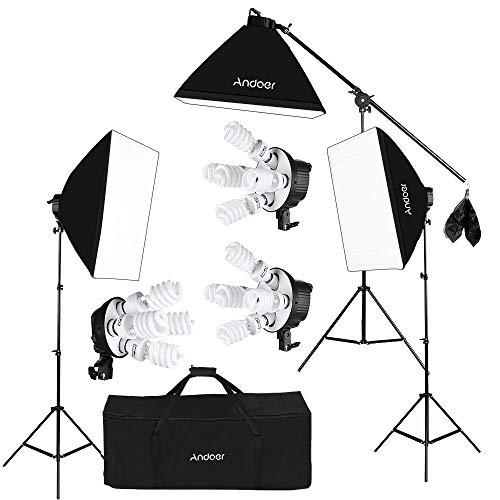 Andoer Softbox Illuminazione Studio Fotografico Video Set, (12)Lampadina 45W (Equivalente 2400W), (3)Portalampada 4-in-1, (3)Softbox,(3)200cm Light Stand, (1)Asta del Braccio di Sospensione, (1)Borsa