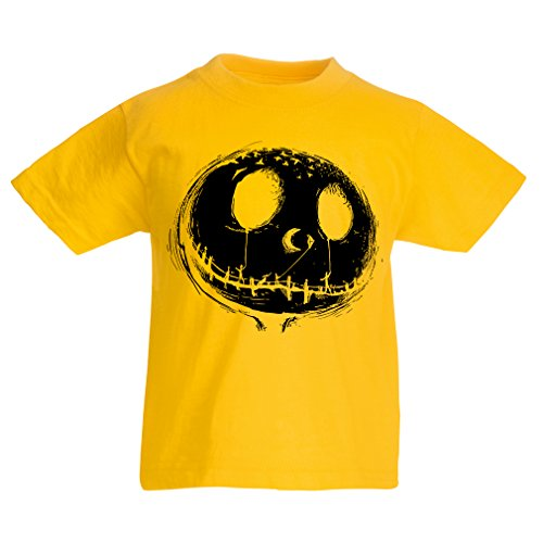 Kinder T-Shirt beängstigend Schädel Gesicht - Alptraum - Halloween-Party-Kleidung (12-13 years Gelb (Schnelle Diy Und Kostüme Einfache)