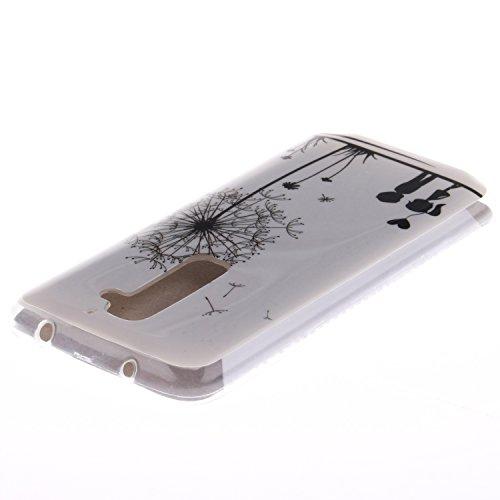 LG G2 hülle MCHSHOP Ultra Slim Skin Gel TPU hülle weiche Silicone Silikon Schutzhülle Case für LG G2 - 1 Kostenlose Stylus (Blumen Tribal Aztec (Flower Tribal Aztec)) Löwenzahn sich verlieben (Dandelions Fall in Love)