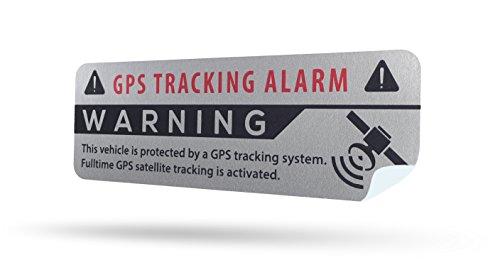 LM Intertrade GmbH GPS Alarm Aufkleber Auto - Warnaufkleber in Premium Qualität - 75 mm x 25 mm - Sticker für 1 Pkw - Innenklebend (Silber, 2)
