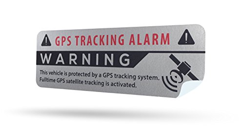 SECYOURITY - GPS Alarm Aufkleber Auto - Warnaufkleber für PKW & LKW (Silber, 2)
