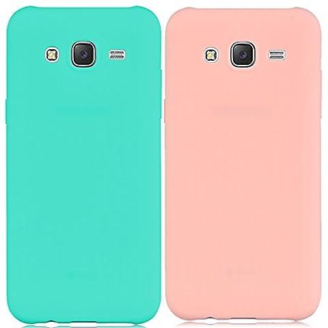 2 x Coque Samsung Galaxy J5 / 2015, Yokata Solide Mat Anti-Fingerprint Case Housse Étui Soft Doux TPU Silicone Flexible Backcover Ultra Mince Coque - Bleu Marine + Rose