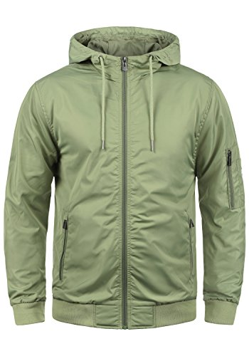 Blend Razy Herren Übergangsjacke Herrenjacke Jacke mit Kapuze, Größe:M, Farbe:Oil Green (77202) - Jersey Kapuzen Jacke