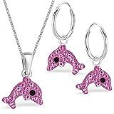 Kristall Delfin Set Anhänger + Kette + Creolen 925 Echt Silber Kinder Mädchen Delphin Ohrringe (3) Pink)