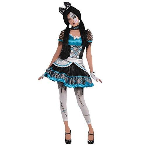 Teenager Mädchen zerschmettert Puppe Halloween Kostüm gebbrochen Glocke Zombie Anna Kostüm gebbrochen Porzellan Style gruselig Horror Outfit - Blau, 142- 164