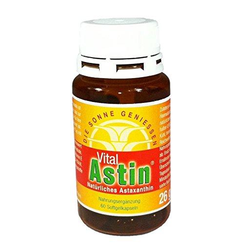 Astaxanthin - VitalAstin - 60 Kapseln - mit 4 mg natürlichem Astaxanthin + Vitamin E - Das Original: Ivarsson's VitalAstin - DIE SONNE GENIESSEN - Schutz für Haut von innen - Sonnenschutz - auch für sensible und allergische Haut - versandkostenfrei