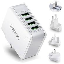 Cargador USB, LENCENT Cargador de Pared, 22W/5V 4.4A Adaptador Para Viaje con 4 Puertos USB, Adaptadores de Enchufe Universal Reino Unido/EEUU/EU/AUS para iPad, iPhone, Samsung Teléfonos Inteligentes