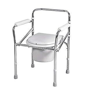 Schroffer Und Dauerhafter Tragbarer Älterer Person-Behinderter Töpfchen-Stuhl-Höhenverstellbarer Badezimmer-Duschhocker Mit Eimer Anti-Rutsch Handlauf-Toiletten-Stuhl-Schwangeren Frauen-Toilettensitz
