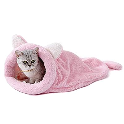 PAWZ Road Cat Sleeping Bag Fleece Soft Self Warming Washable Cat Beds Snuggle Sack Blanket Mat Kitty Sack Suitable for cat and Puppy 60 * 58CM by PAWZ Road