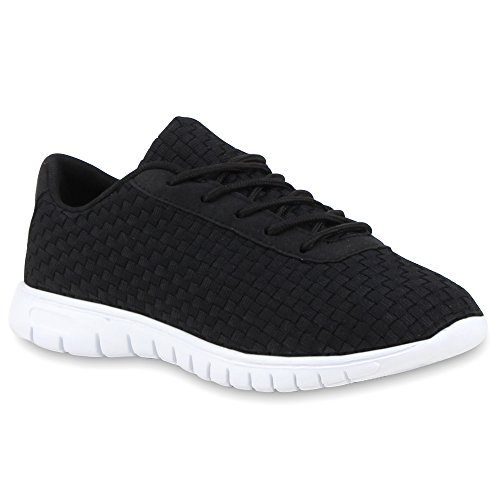 Damen Sportschuhe Laufschuhe Runners Sneakers Profilsohle Schwarz