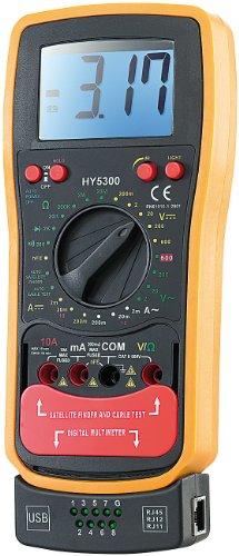 """revolt Voltmeter: Multimeter\""""VA252\"""" m. Transistor- u. Kabel-Tester USB/RJ45/11 (Digital Multimeter)"""