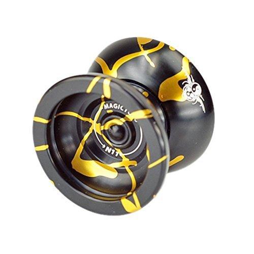 Original Magic YoYo Profi Aluminium Professionelles Yo-Yo Spielzeug für Beginner / Fortgeschrittene + 5 x Schnur + Freier Handschuh + Freier Bag + Freier Jojo-Halter-- Geburtstag Geschenk für Sohn (N11 Schwarz Gold)